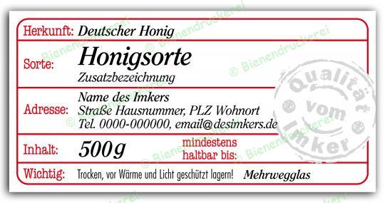 Honigglas Etikett Motiv 204 500g Twist-Off   150