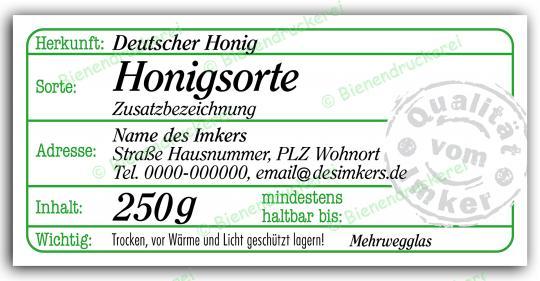 Honigglas Etikett Motiv 207 250g Twist-Off   500