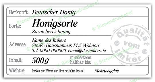 Honigglas Etikett Motiv 208 500g klassisch | 25