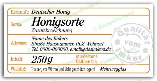 Honigglas Etikett Motiv 209 250g klassisch | 100