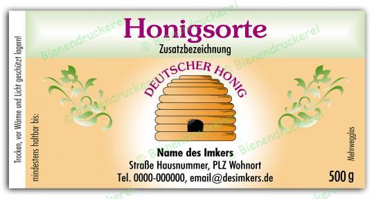 Honigglas Etikett Motiv 012 500g klassisch | 250