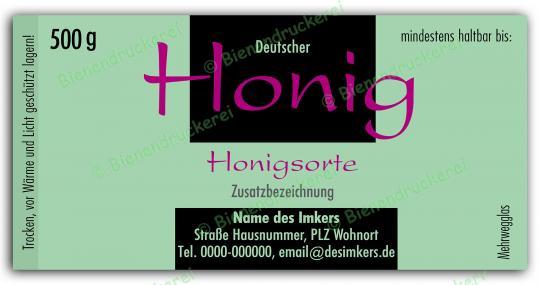 Honigglas Etikett Motiv 014 500g Twist-Off | 50