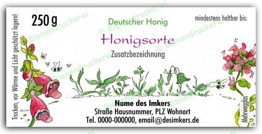 Honigglas Etikett Motiv 020 250g klassisch | 50