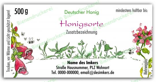 Honigglas Etikett Motiv 020 500g Twist-Off | 1000