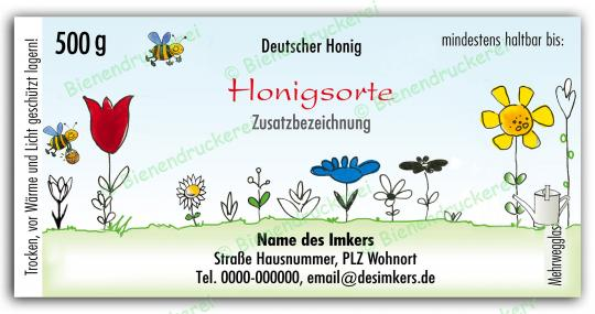 Honigglas Etikett Motiv 021 500g Twist-Off | 250