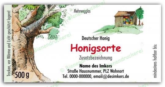 Honigglas Etikett Motiv 023 500g Twist-Off | 150