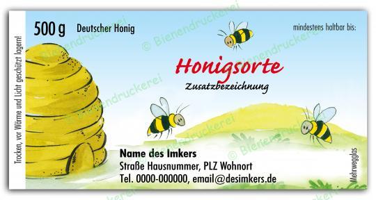Honigglas Etikett Motiv 025 500g klassisch | 75