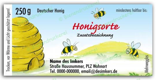 Honigglas Etikett Motiv 025 250g klassisch | 25