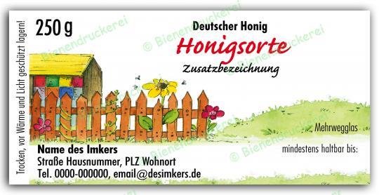 Honigglas Etikett Motiv 028 250g klassisch | 250