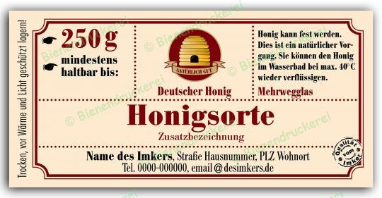 Honigglas Etikett Motiv 030 250g Twist-Off | 250