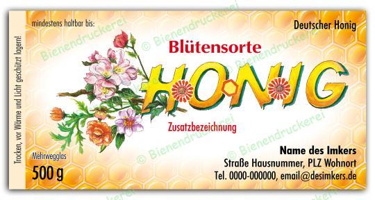 Honigglas Etikett Motiv 036 500g klassisch | 100
