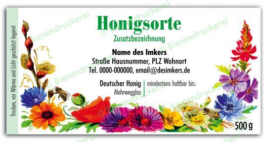 Honigglas Etikett Motiv 066 500g klassisch | 100