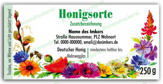 Honigglas Etikett Motiv 066 250g klassisch | 150