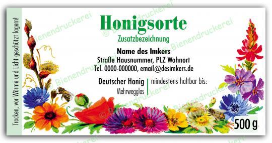 Honigglas Etikett Motiv 066 500g Twist-Off | 100