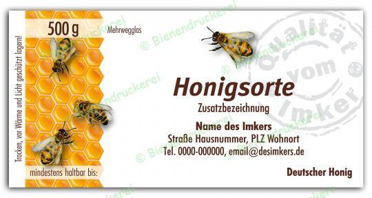 Honigglas Etikett Motiv 067 500g klassisch | 75