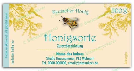 Honigglas Etikett Motiv 069 500g klassisch | 100