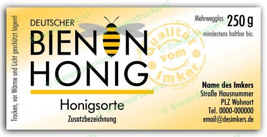 Honigglas Etikett Motiv 070 250g klassisch | 50
