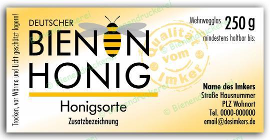 Honigglas Etikett Motiv 070 250g Twist-Off | 100