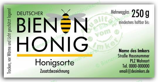 Honigglas Etikett Motiv 072 250g Twist-Off | 100