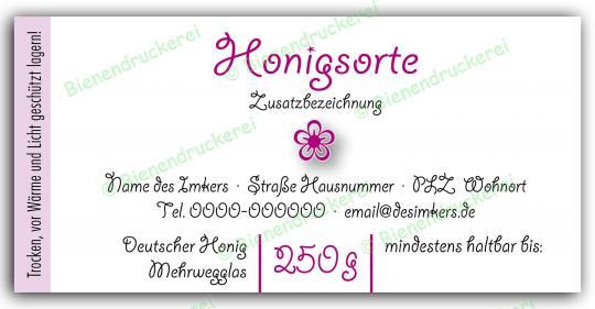 Honigglas Etikett Motiv 073 250g Twist-Off | 250