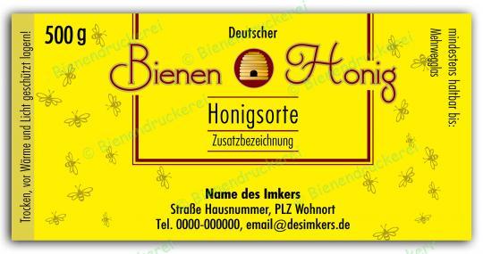 Honigglas Etikett Motiv 130 500g Twist-Off | 25