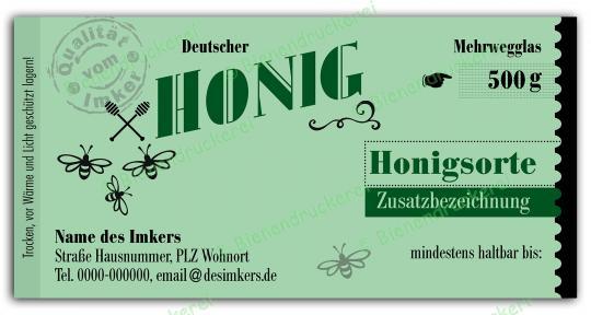 Honigglas Etikett Motiv 141 500g klassisch   250
