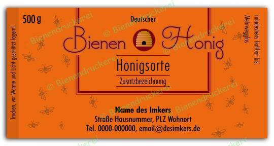 Honigglas Etikett Motiv 150 500g klassisch | 150