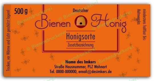 Honigglas Etikett Motiv 150 500g Twist-Off   100