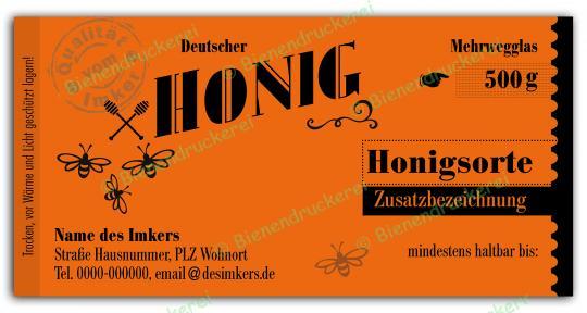 Honigglas Etikett Motiv 156 500g klassisch | 500