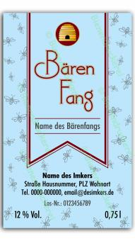 Bärenfang-Etikett 1722