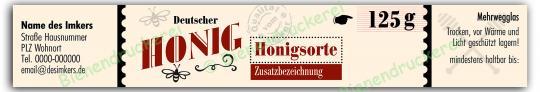Honigglas Etikett Motiv 193 125g Twist-Off | 100
